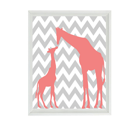 Pink and Gray Mother and Baby Giraffe Chevron Nursery Wall Art Print