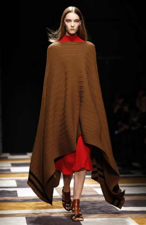 A model presents a creation from the Salvatore Ferragamo Autumn/Winter 2015/16 collection during Milan Fashion week