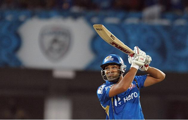 Mumbai Indians batsman Rohit Sharma plays a shot during the IPL Twenty20 cricket match between Deccan Chargers and Mumbai Indians at Dr. Y.S. Rajasekhara Reddy Cricket Stadium in Visakhapatnam on Apri