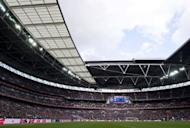 A general view of Wembley Stadium during the FA Cup semi-final football match between Tottenham Hotspur and Chelsea at Wembley Stadium in London. Chelsea lashed out at fans who embarrassed the Premier League club by disrupting the minute's silence to mark the anniversary of the Hillsborough disaster ahead of Sunday's FA Cup semi-final with Tottenham