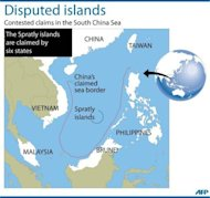 Graphic showing disputed claims in the South China Sea, where the Spratly islands are claimed by six states