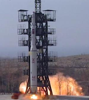 FILE - This April 5, 2009 file image made from KRT video, shows the launch of a missile in Musudan-ri, North Korea. North Korea fired a long-range rocket Wednesday, Dec. 12, 2012, South Korean officials said, defying warnings from the U.N. and Washington only days ahead of South Korean presidential elections. (AP Photo/KRT TV, File) NORTH KOREA OUT, TV OUT