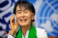 Myanmar democracy icon Aung San Suu Kyi attends a press conference after her address at the International Labour Organization annual conference in Geneva. Suu Kyi cut short a planned press conference in the Swiss capital Bern on Thursday due to exhaustion