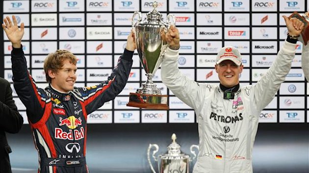 Sebastian Vettel and Michael Schumacher, Race of Champions 2011