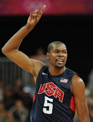 US forward Kevin Durant reacts during the men's basketball preliminary round match Argentina vs USA as part of the London 2012 Olympic Games at the Basketball Arena in London. USA defeated Argentina 126-97