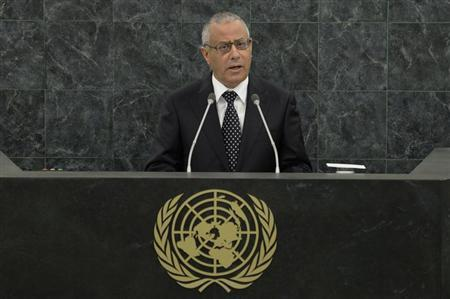 Libyan Prime Minister Ali Zeidan speaks at the 68th United Nations General Assembly in New York, September 25, 2013. REUTERS/Andrew Burton/Pool