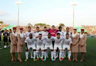 The New York Cosmos team pose for a photo prior to the start of the match against the Fort Lauderdale Strikers, at Hofstra University in Hempstead, New York, on August 3, 2013. Cosmos won 2-1