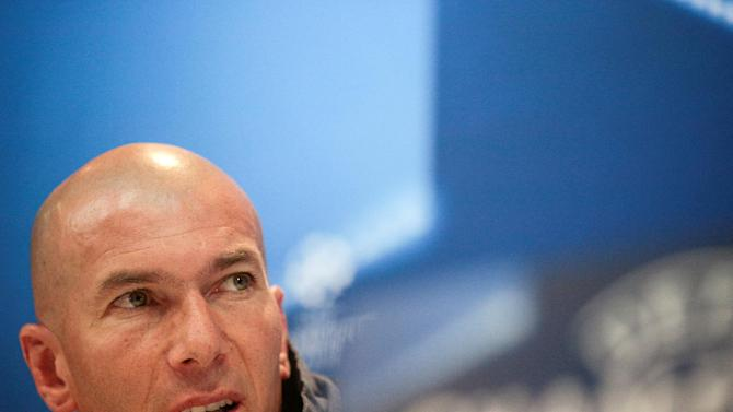 Real Madrid's coach Zinedine Zidane during news conference