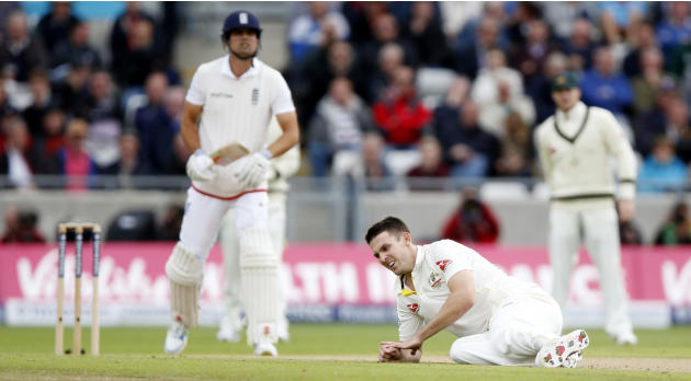 Australia's Mitchell Marsh after slipping over