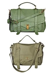 Top: Proenza Schouler's PS1 bag. Bottom: Mossimo's Messenger bag.