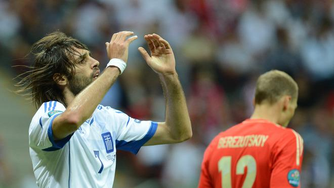 Greek Forward Giorgios Samaras Reacts AFP/Getty Images