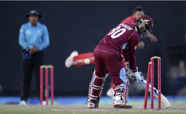 England's Bresnan bowls West Indies' Ramdin as England win the third one-day international cricket match at North Sound