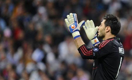 AC Milan's goalkeeper Amelia reacts during their Champions League Group G soccer match against Real Madrid in Madrid