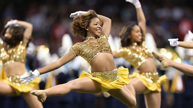Cheerleaders perform during pre-game ceremonies for the NFL Super Bowl XLVII football game in New Orleans