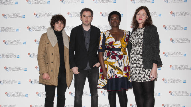 """From left, Actor Aneurin Barnard, writer and director Ciaran Foy, actress Wunmi Mosaku and producer Katie Holly arrive during the BFI London Film Festival at the premiere of """"Citadel"""" on Friday, Oct. 19, 2012, in London. (Photo by Ki Price/Invision/AP)"""