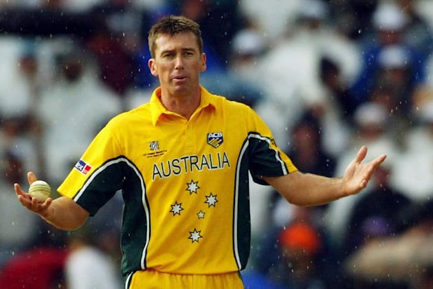 Glenn McGrath of Australia protest to umpire David Shepherd