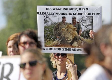 Protesters hold signs during a rally outside the River Bluff Dental clinic against the killing of a famous lion in Zimbabwe, in Bloomington, Minnesota July 29, 2015. REUTERS/Eric Miller