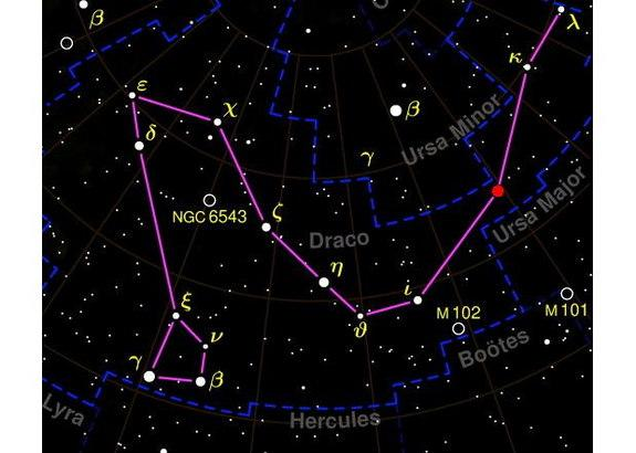 Draco constellation appears in this sky map.