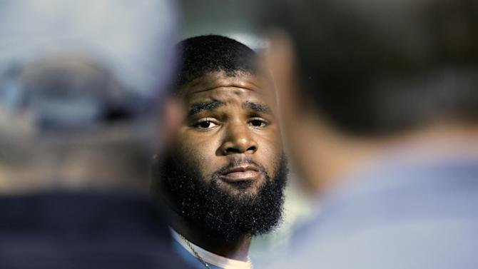 New York Jets' Sheldon Richardson responds to questions during a news interview before NFL football training camp on Wednesday, July 23, 2014, in Cortland, N.Y