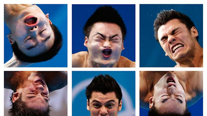 A combination picture shows close-ups of divers' faces during the London 2012 Olympic Games