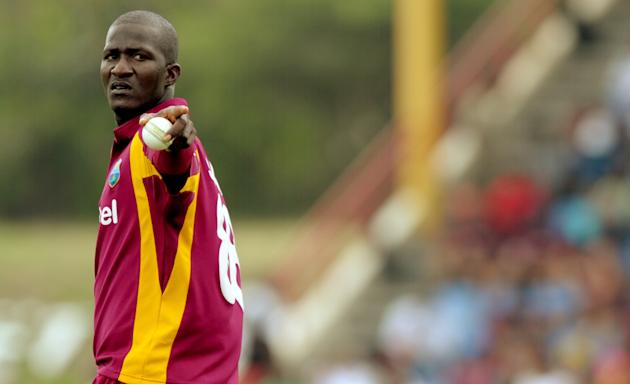 West Indies cricketer Darren Sammy gestu