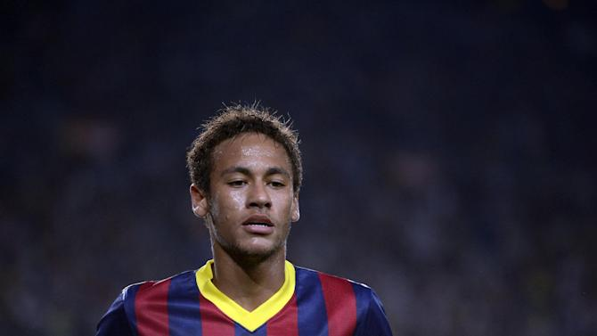 FC Barcelona's Neymar, from Brazil, during a Spanish La Liga soccer match against Real Sociedad at the Camp Nou stadium in Barcelona, Spain, Tuesday, Sept. 24, 2013