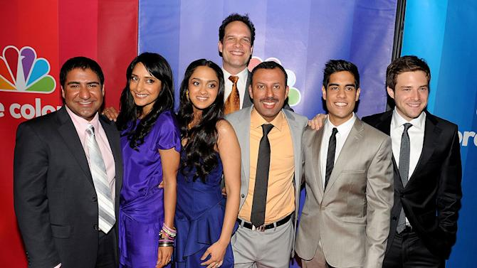 """The cast of """"Outsourced"""": (L-R) Parvesh Cheena, Rebecca Hazlewood, Anisha Nagarajan, Diedrich Bader, Rizwan Manji, Sacha Dhawan, and Ben Rappaport attend the 2010 NBC Upfront presentation at The Hilton Hotel on May 17, 2010 in New York City."""