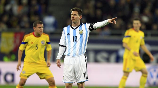 Argentina's Messi reacts during their international friendly soccer match against Romania at the National Arena in Bucharest