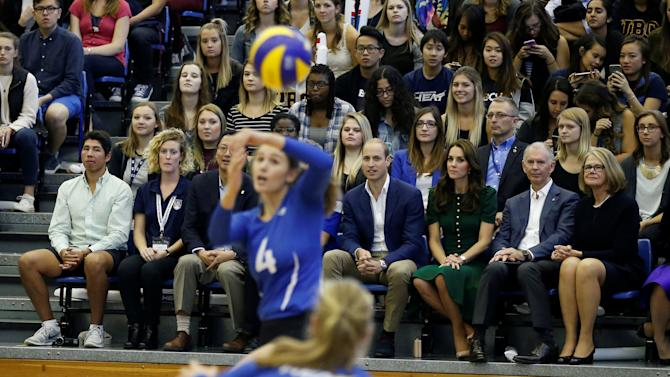 Britain's Prince William and Catherine, Duchess of Cambridge, watch women's volleyball at the University of British Columbia Okanagan in Kelowna