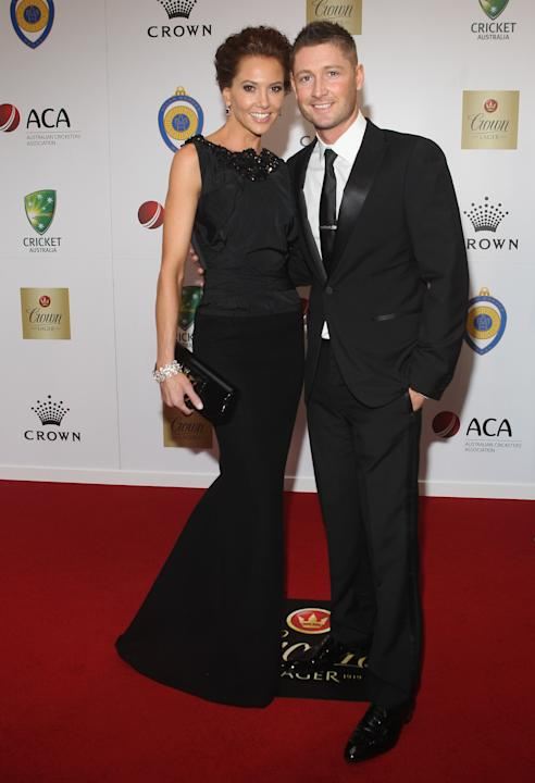 Kyly Boldy with Michael Clarke at the 2012 Allan Border Medal Awards at Crown Palladium on February 27, 2012 in Melbourne