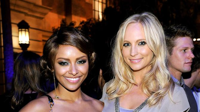 "Kat Graham and Candice Accola of ""The Vampire Diaries"" attend The CW Fall Premiere party presented by Bing at Warner Bros. Studios on September 10, 2011 in Burbank, California."