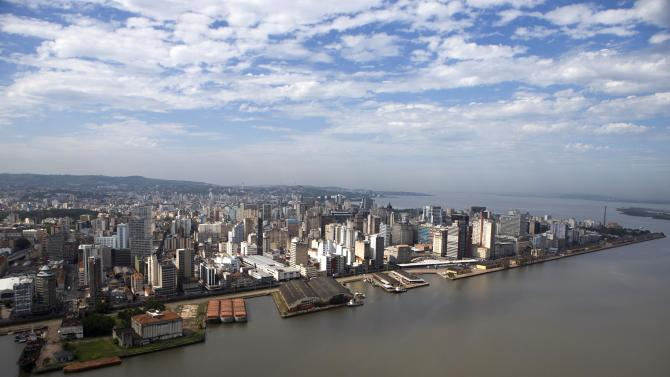 Aerial view shows Porto Alegre city next to Beira-Rio river