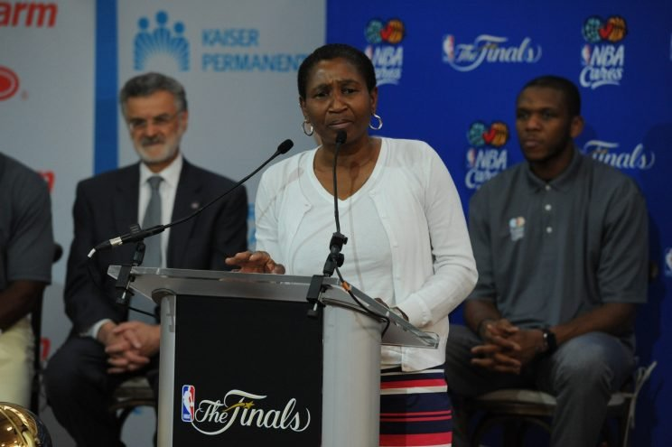 Michele Roberts speaks at a union event during the 2015 NBA Finals. (Garrett W. Ellwood/NBAE via Getty Images)