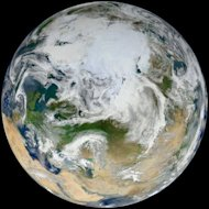 A NASA image from June 2012 shows the Earth taken from an angle over the Arctic. Arctic ice is considered vital for the planet as it reflects heat from the sun back into space, helping keep down the planet's temperatures