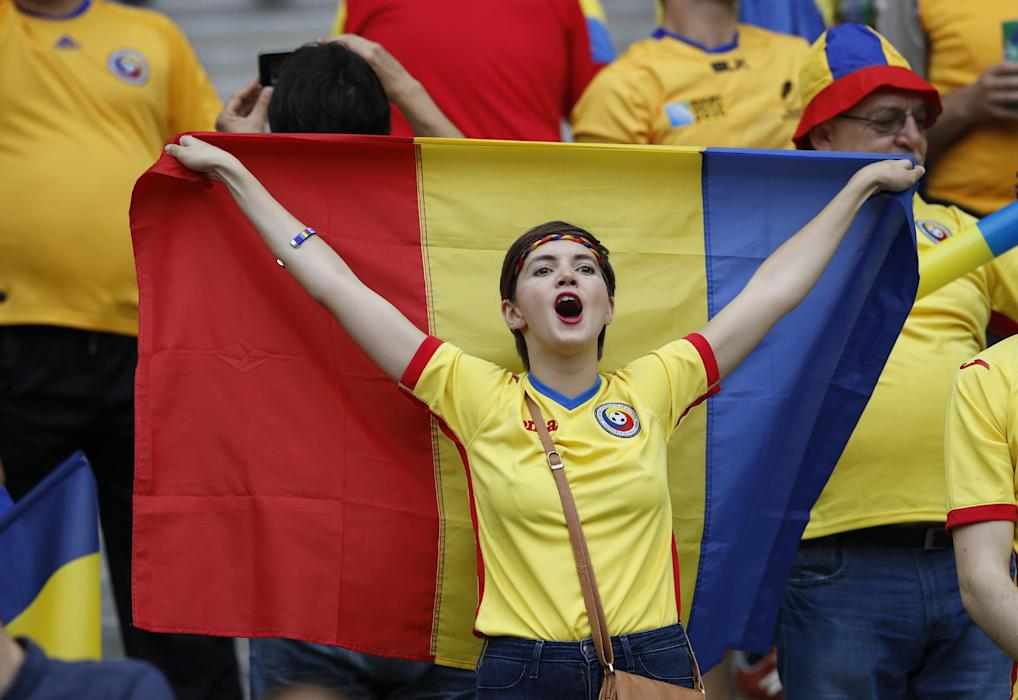Romania fans before the match