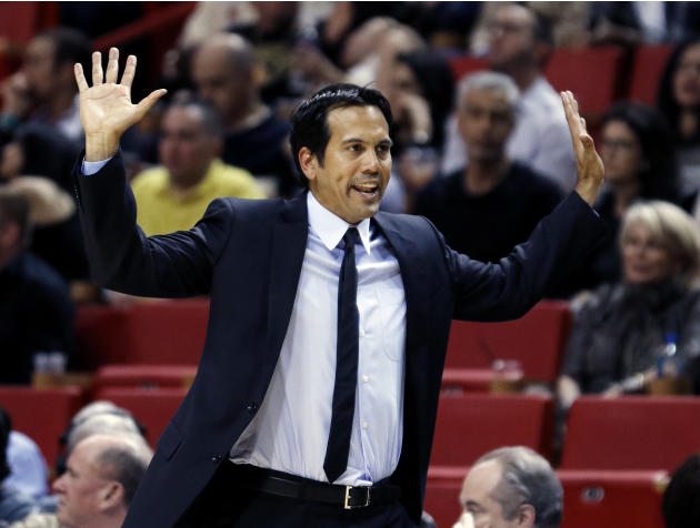 Miami Heat head coach Erik Spoelstra reacts in the fourth quarter of an NBA basketball game against the Atlanta Hawks, Saturday, Feb. 28, 2015 in Miami.   (AP Photo/Joe Skipper)