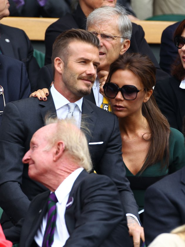 Victoria Beckham and David Beckham at Wimbledon today