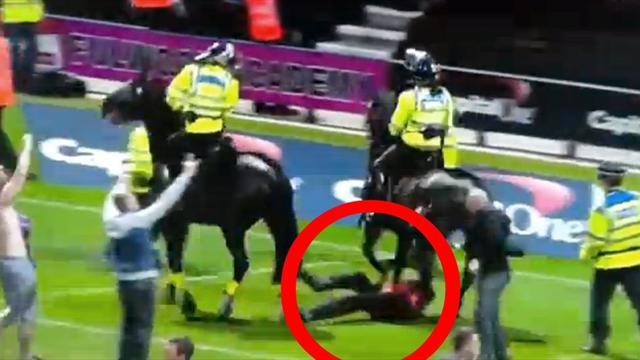 League Cup - Steward trampled by horse after Preston edge Blackpool
