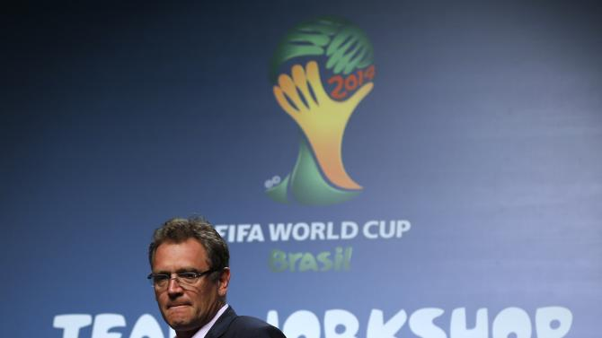 Jerome Valcke arrives to make an announcement on the status of Curitiba as a host city for the 2014 World Cup, in Florianopolis
