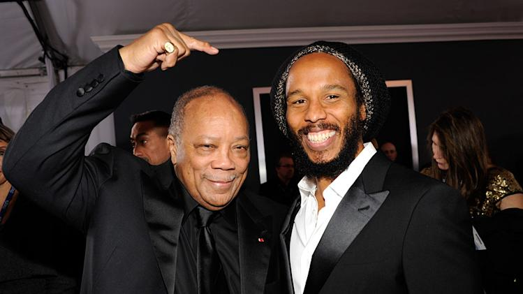 The 55th Annual GRAMMY Awards - Red Carpet: Quincy Jones and Ziggy Marley
