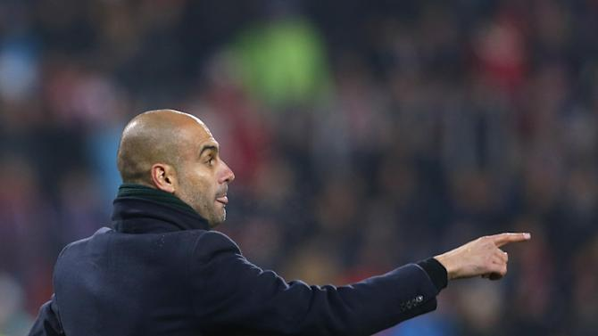 Head coach of Bayern Munich Pep Guardiola instructs his player during their Champions League Group D soccer match against Viktoria Pilsen in Pilsen, Czech Republic, Tuesday, Nov. 5, 2013. Bayern won the match 1-0