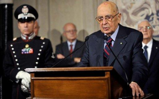 Italy's President Giorgio Napolitano speaks at the Quirinale palace on Saturday after dissolving parliament. Italy's election campaign kicked off on Saturday amid uncertainty over whether Prime Minister Mario Monti will launch himself into the political fray and fight flamboyant billionaire Silvio Berlusconi for the top job.