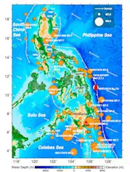 A diagram of the Philippine Trench showing historic large earthquakes of magnitude 7.0 or great, as well as the motions of tectonic plates.