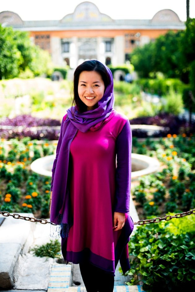 "Mandy Tay in Shiraz. She said, ""Iran is only two hours away from Dubai but it is so much greener. Reminds me of Singapore."" (Photo courtesy of Mandy Tay)"