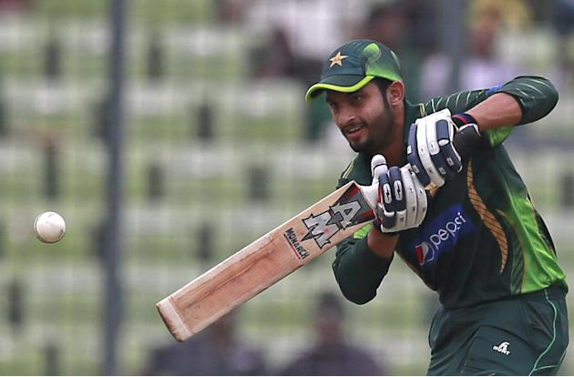 Pakistan's Saad Nasim plays a shot during the second one-day international cricket match against Bangladesh in Dhaka, Bangladesh, Sunday, April 19, 2015. (AP Photo/ A.M. Ahad)