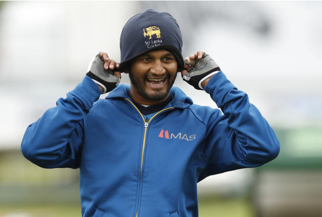 Sri Lanka's Dimuth Karunaratne during nets