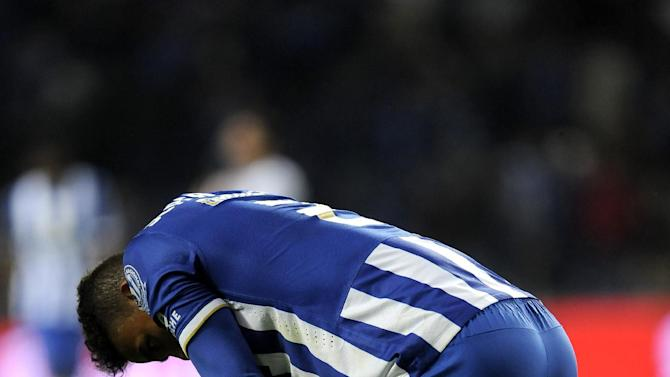 FC Porto's Danilo Silva, from Brazil, reacts after their 1-1 draw against Nacional in a Portuguese League soccer match at the Dragao stadium in Porto, Portugal, Saturday, Nov. 23, 2013