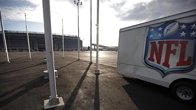 2011 The NFL logo is seen on a trailer parked near the New Meadowlands Stadium where the New York Jets and New York Giants NFL football teams play home games