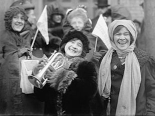 Women demonstrate for the right to vote in February 1913