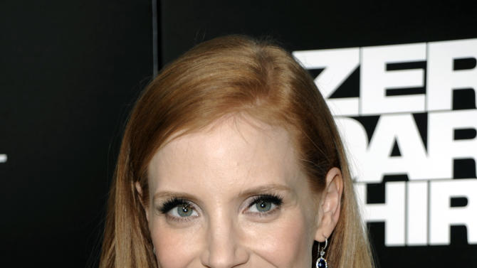 """FILE - In this Monday, Dec. 10, 2012 file photo, actress Jessica Chastain arrives at the premiere of the feature film """"Zero Dark Thirty"""" at the Dolby Theatre in Los Angeles. Chastain stars as a dogged CIA officer in """"Zero Dark Thirty,"""" a performance that has already earned her best actress nominations from the Golden Globes and the Screen Actors Guild. After a glut of films starring Chastain were released in 2011, the actress says: """"I never think about what's next. I always just think: """"What haven't I done yet?"""" (Photo by Dan Steinberg/Invision/AP, File)"""